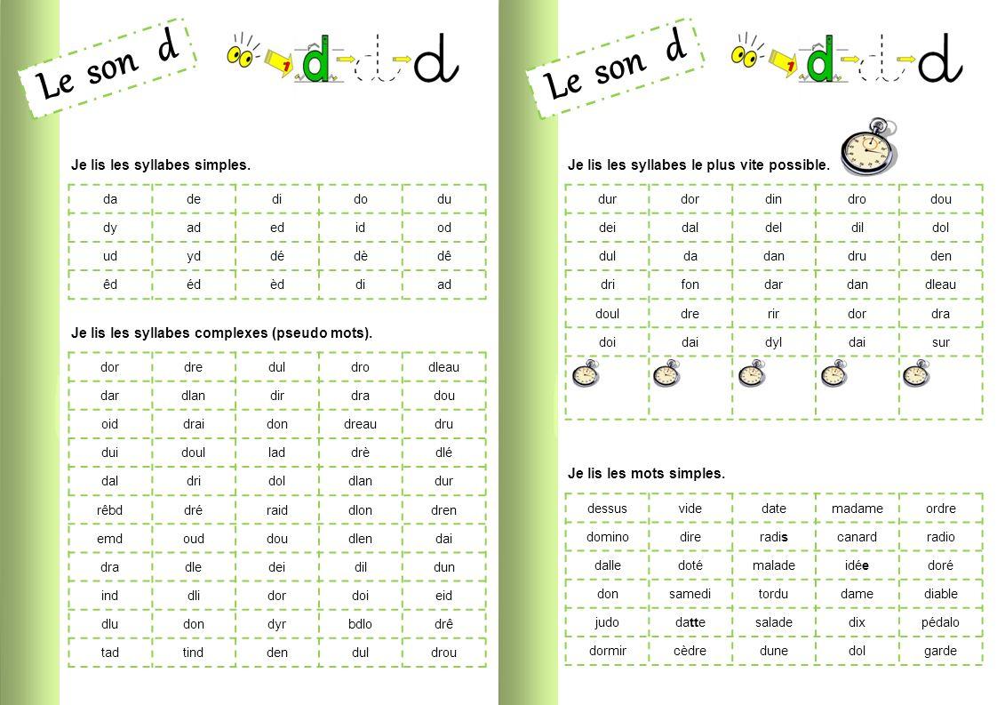 Le son d le son d je lis les syllabes simples ppt video online t l charger - Couper les mots en syllabes ...