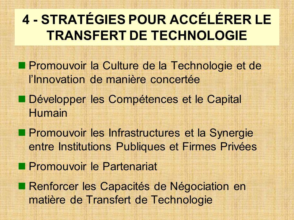 4 - STRATÉGIES POUR ACCÉLÉRER LE TRANSFERT DE TECHNOLOGIE