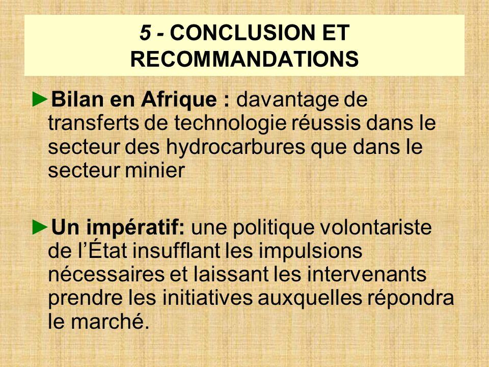 5 - CONCLUSION ET RECOMMANDATIONS