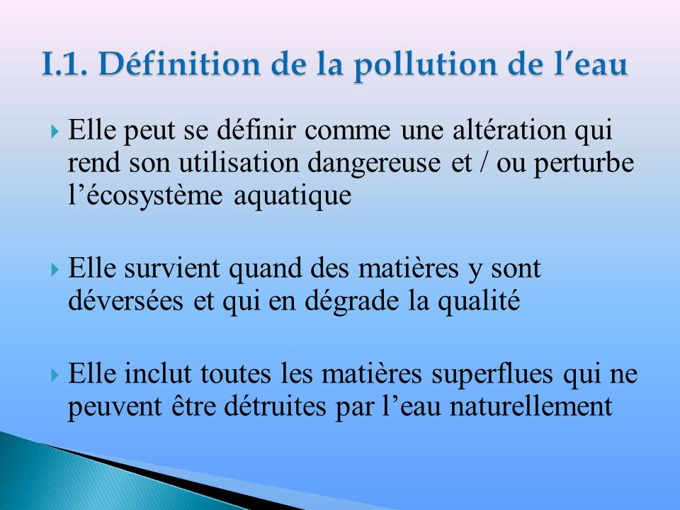 Definition simple de la pollution for Definition de l