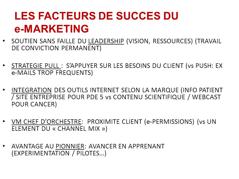 LES FACTEURS DE SUCCES DU e-MARKETING