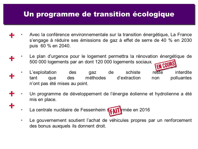 Un programme de transition écologique