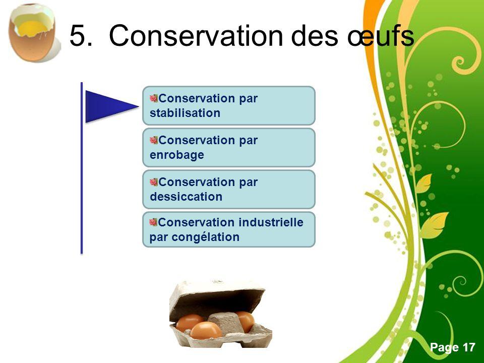 Conservation des œufs Conservation par stabilisation