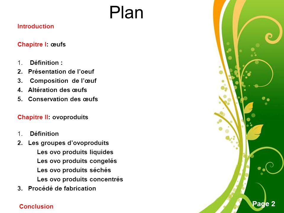 Plan Introduction Chapitre I: œufs Définition : Présentation de l'oeuf