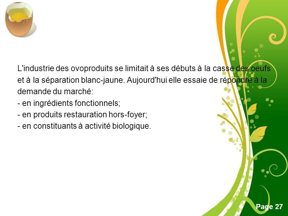 L industrie des ovoproduits se limitait à ses débuts à la casse des oeufs et à la séparation blanc-jaune.