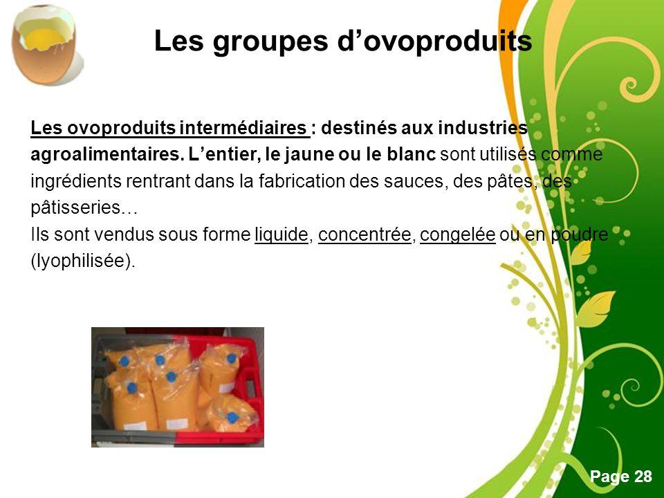 Les groupes d'ovoproduits
