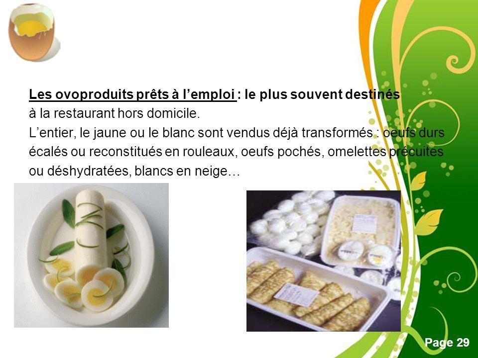 Les ovoproduits prêts à l'emploi : le plus souvent destinés à la restaurant hors domicile.