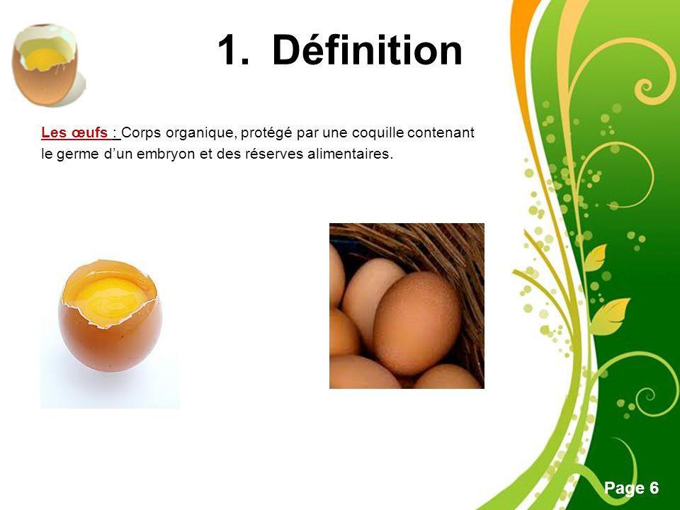 Définition Les œufs : Corps organique, protégé par une coquille contenant le germe d'un embryon et des réserves alimentaires.
