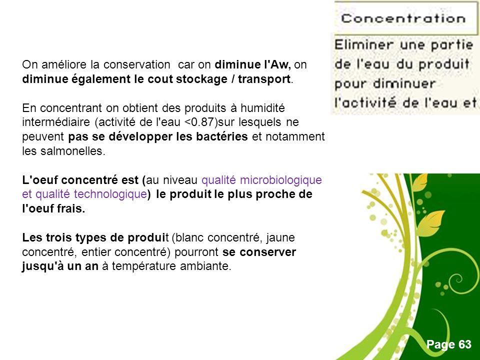 On améliore la conservation car on diminue l Aw, on diminue également le cout stockage / transport.