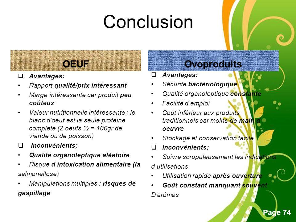 Conclusion OEUF Ovoproduits Avantages: Avantages: