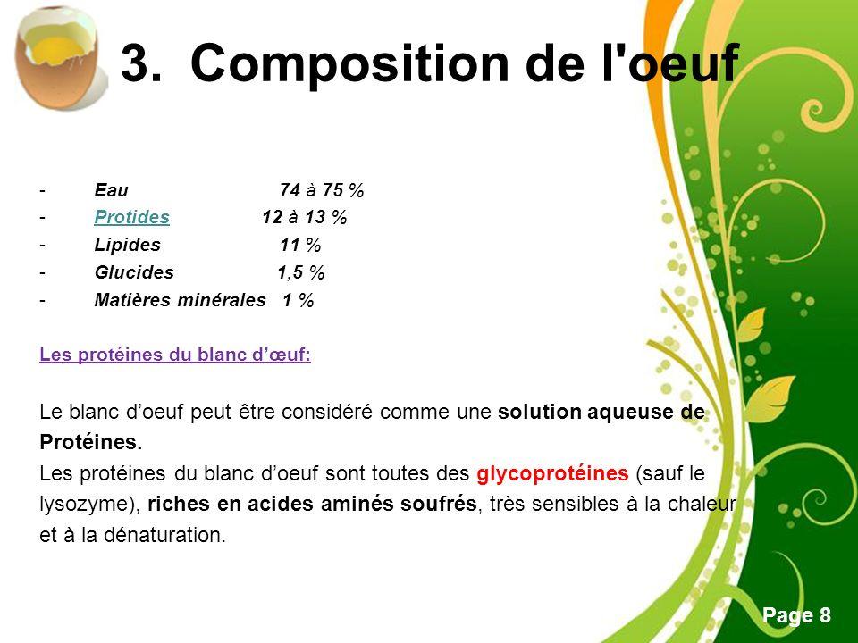 Composition de l oeuf - Eau 74 à 75 % - Protides 12 à 13 %
