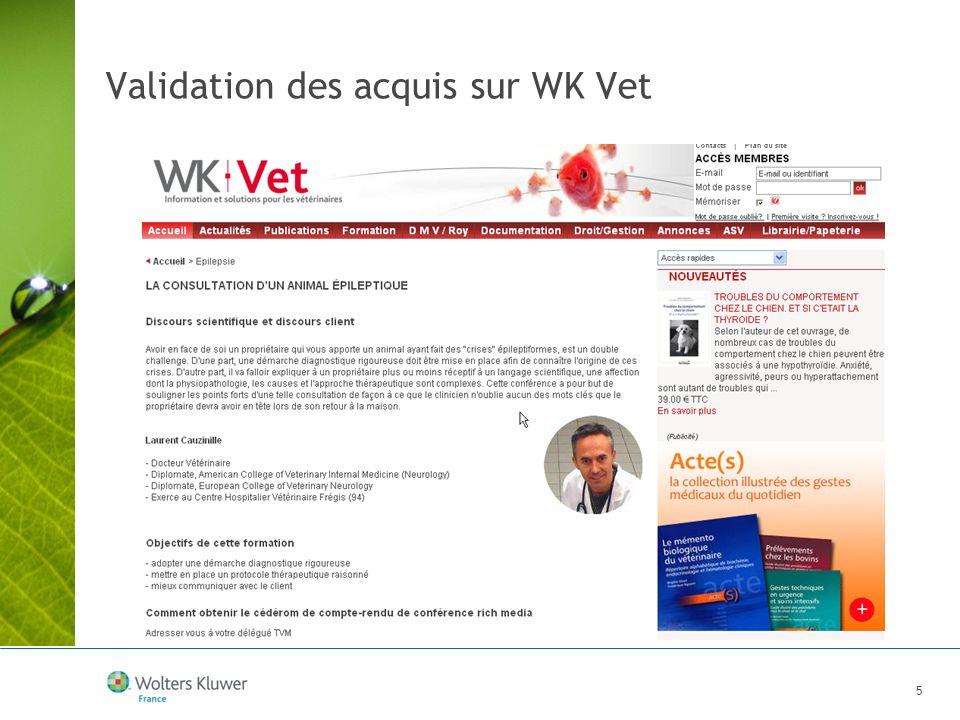 Validation des acquis sur WK Vet