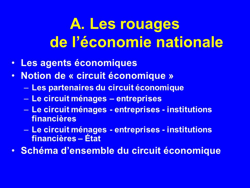A. Les rouages de l'économie nationale