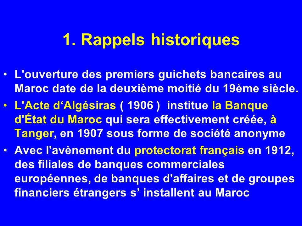 1. Rappels historiques L ouverture des premiers guichets bancaires au Maroc date de la deuxième moitié du 19ème siècle.
