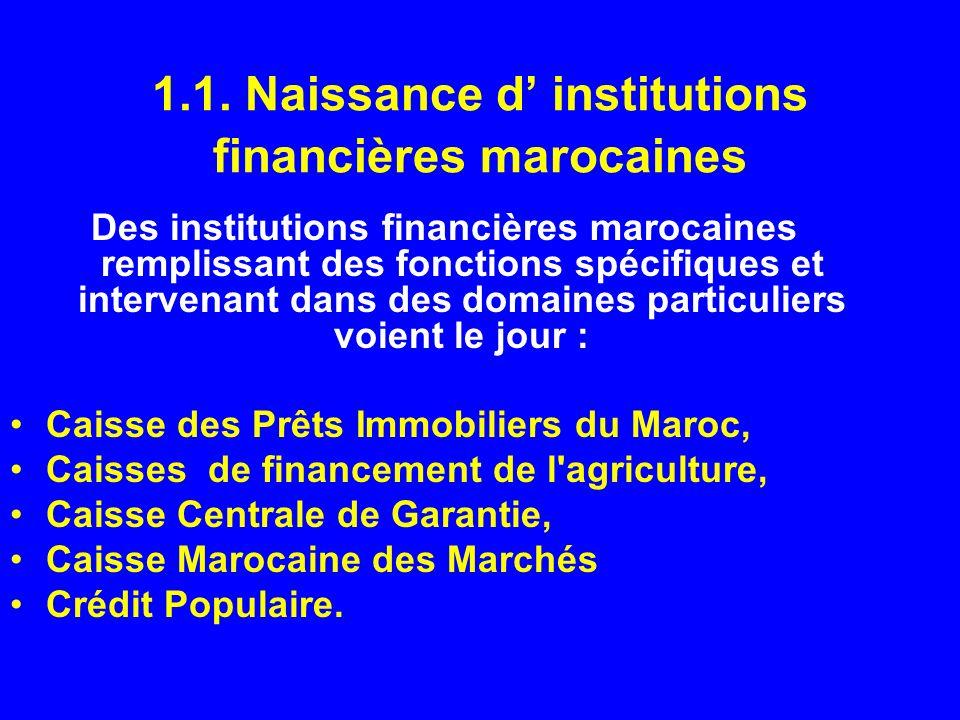 1.1. Naissance d' institutions financières marocaines