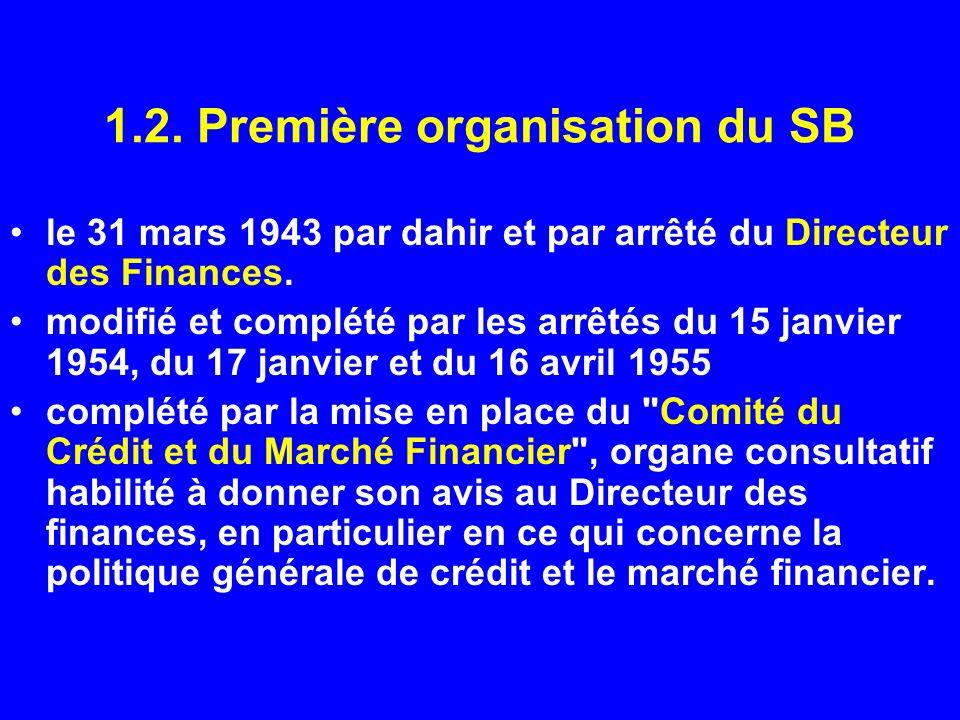 1.2. Première organisation du SB