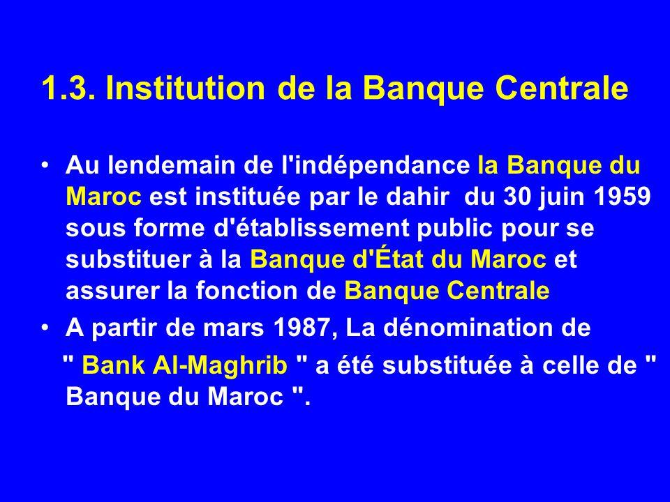 1.3. Institution de la Banque Centrale