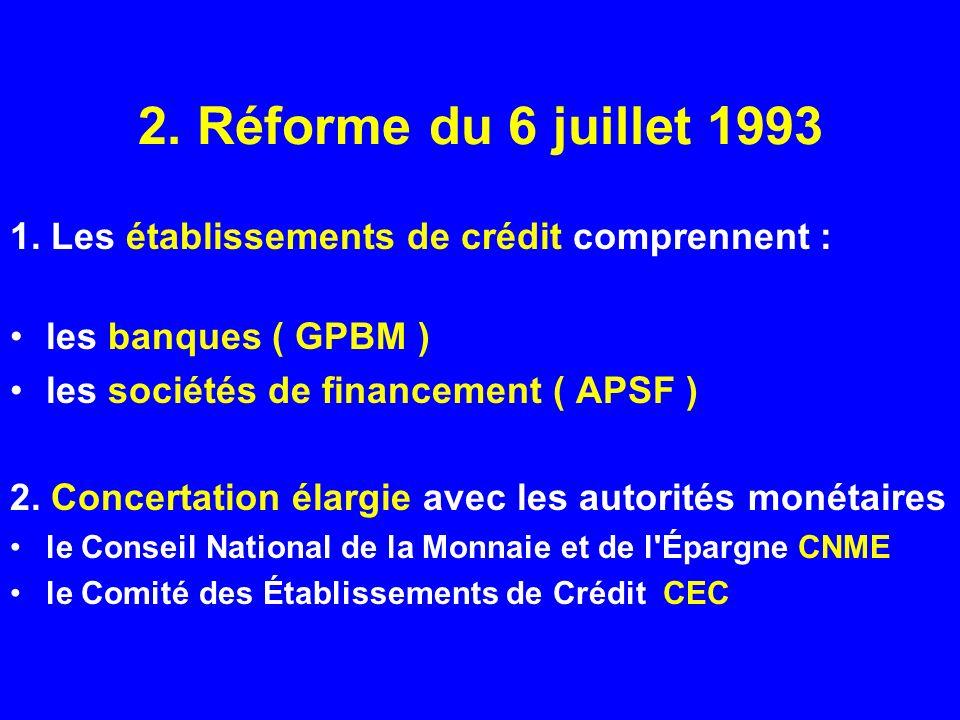 2. Réforme du 6 juillet 19931. Les établissements de crédit comprennent : les banques ( GPBM ) les sociétés de financement ( APSF )