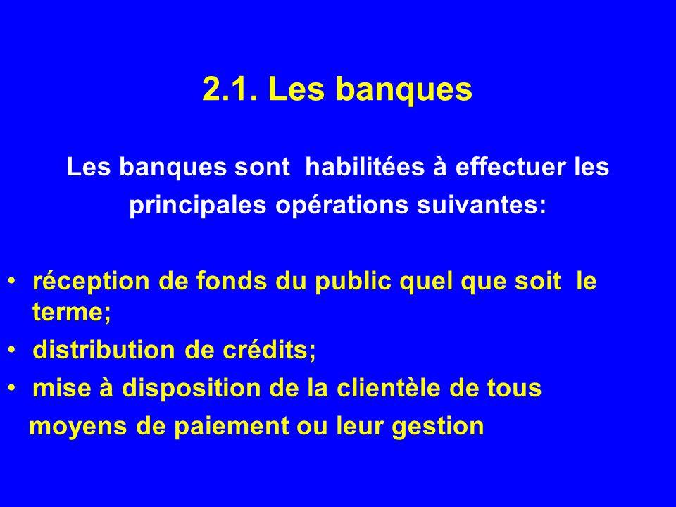2.1. Les banques Les banques sont habilitées à effectuer les