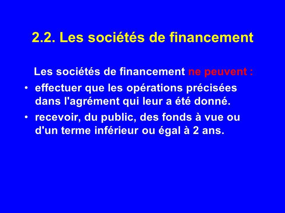 2.2. Les sociétés de financement