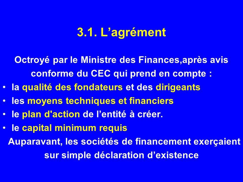 3.1. L'agrément Octroyé par le Ministre des Finances,après avis