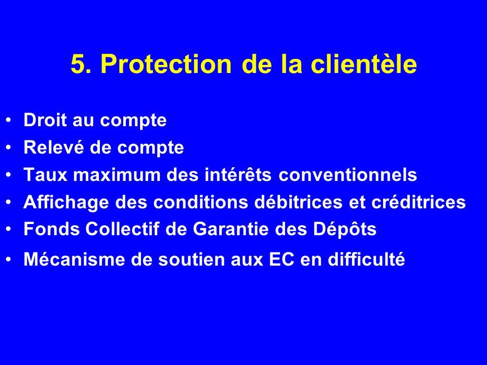 5. Protection de la clientèle