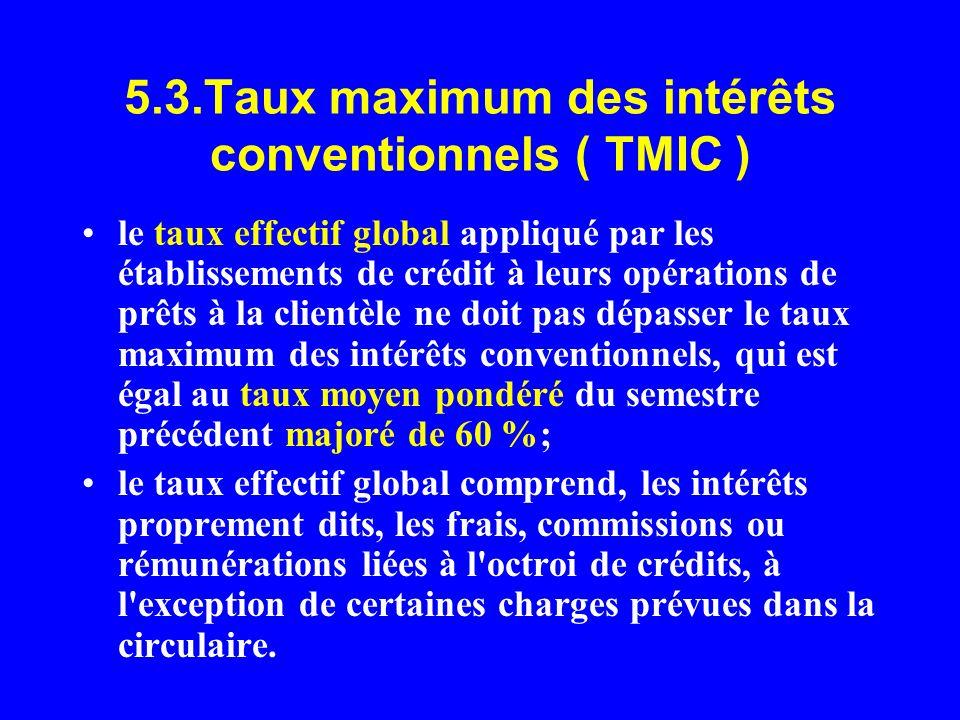 5.3.Taux maximum des intérêts conventionnels ( TMIC )