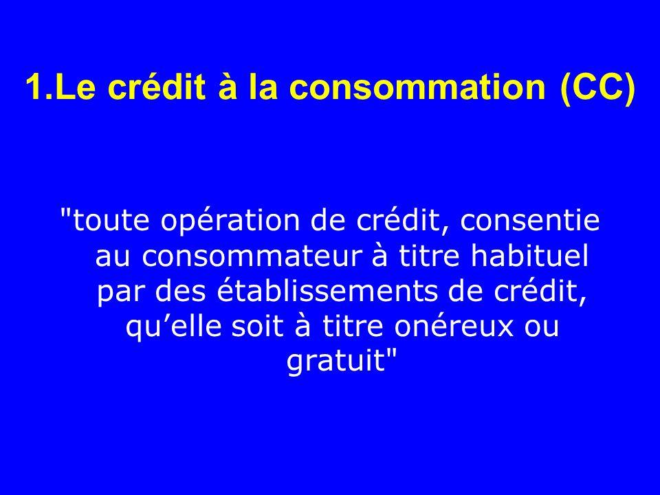 1.Le crédit à la consommation (CC)