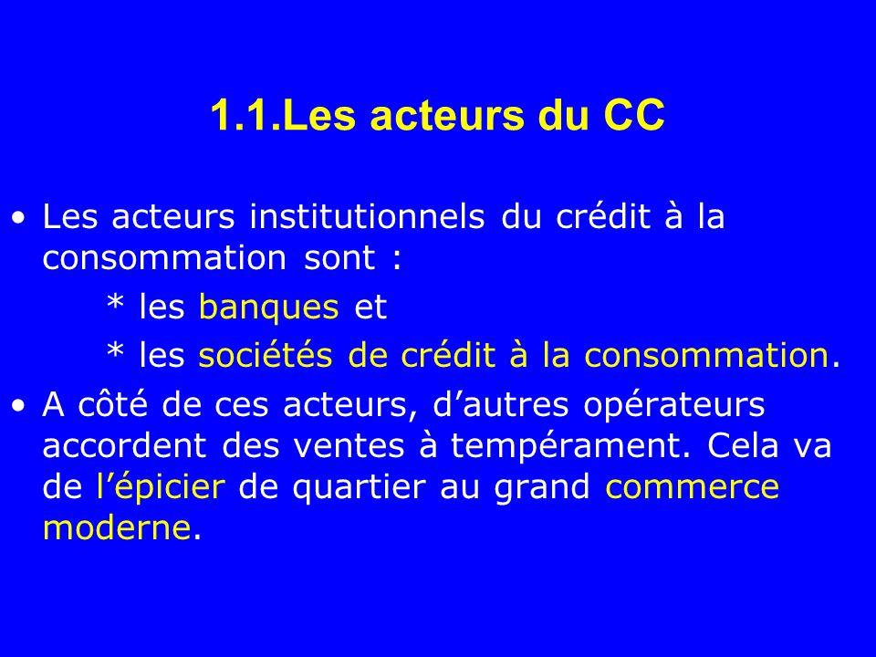 1.1.Les acteurs du CC Les acteurs institutionnels du crédit à la consommation sont : * les banques et.