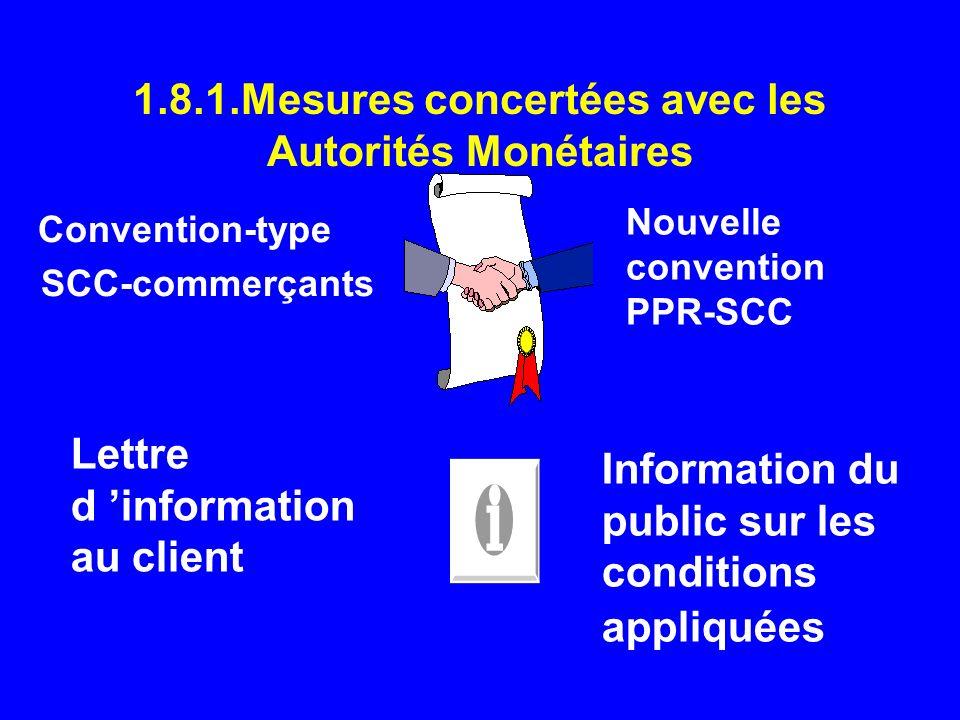 1.8.1.Mesures concertées avec les Autorités Monétaires