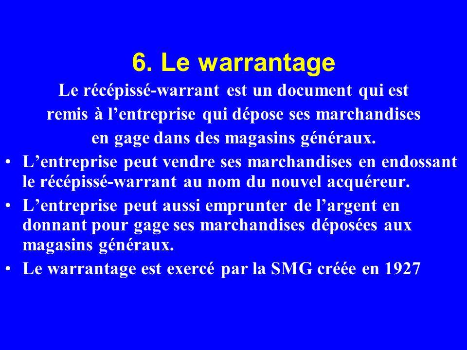 6. Le warrantage Le récépissé-warrant est un document qui est