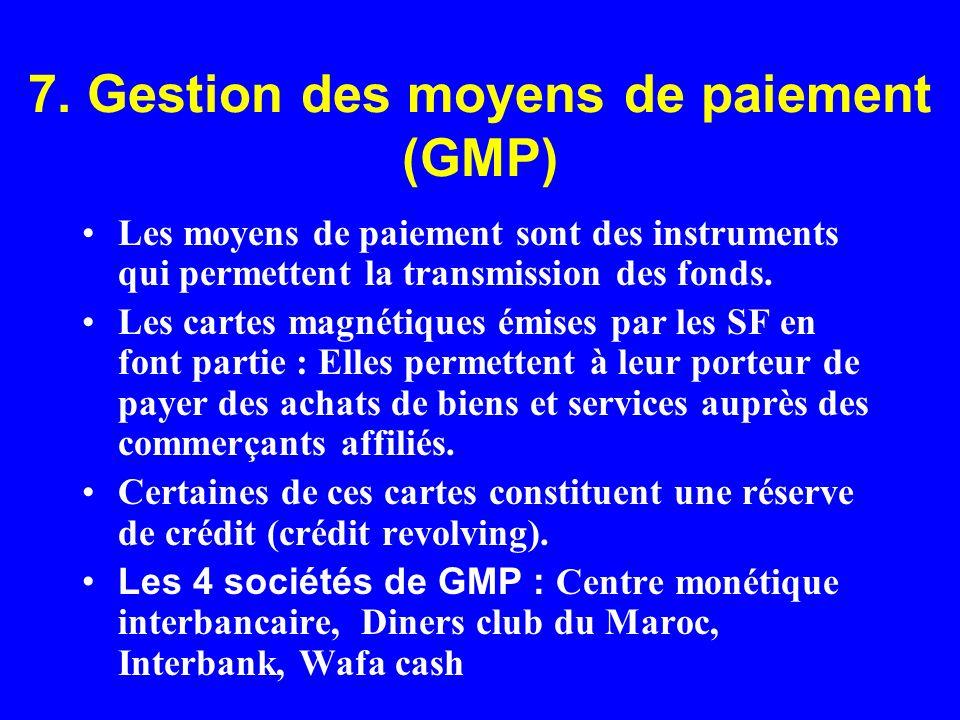 7. Gestion des moyens de paiement (GMP)