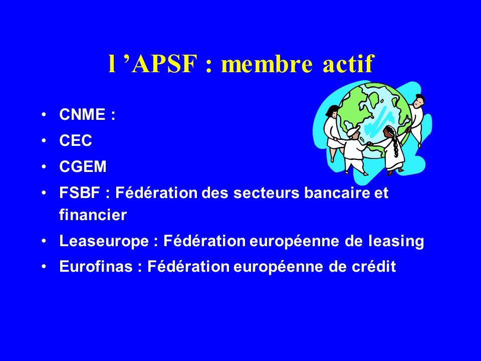 l 'APSF : membre actif CNME : CEC CGEM