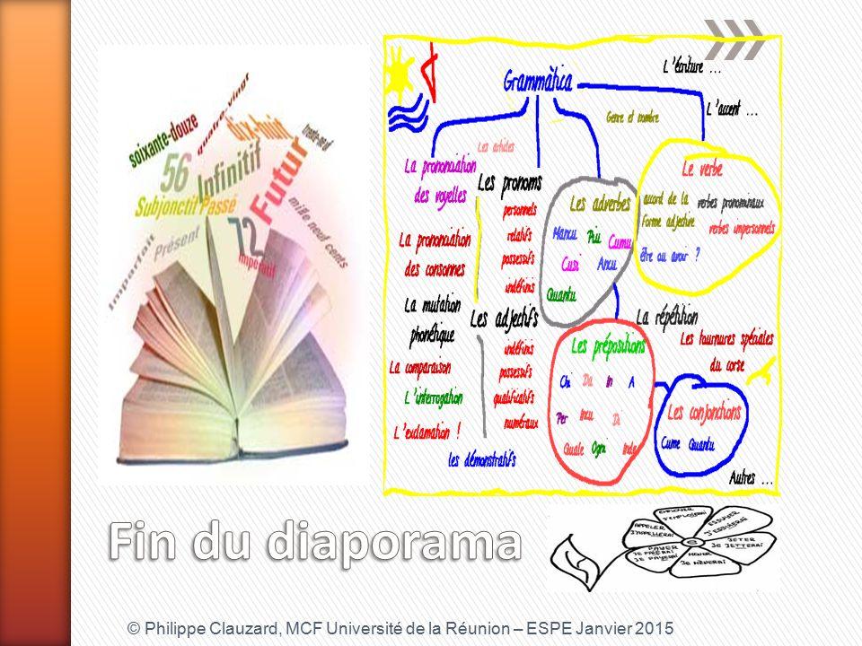 Fin du diaporama © Philippe Clauzard, MCF Université de la Réunion – ESPE Janvier 2015