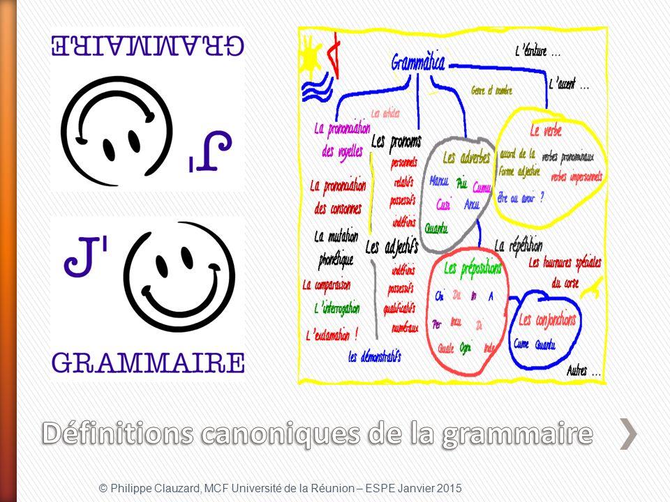 Définitions canoniques de la grammaire