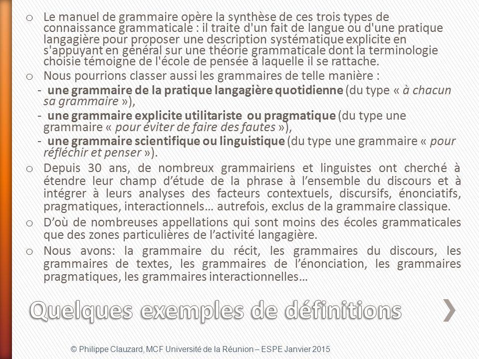 Quelques exemples de définitions