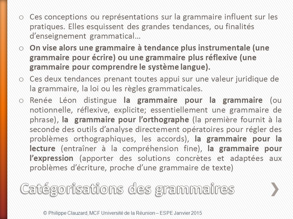 Catégorisations des grammaires