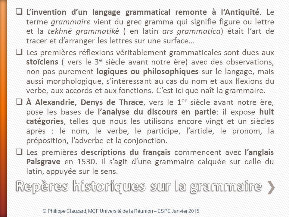 Repères historiques sur la grammaire