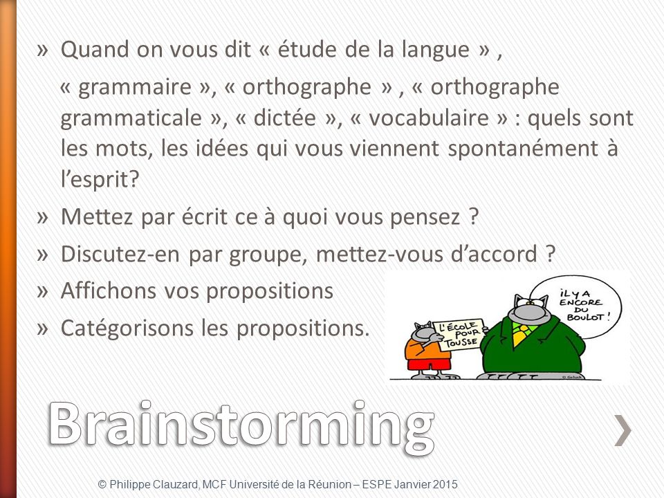 Brainstorming Quand on vous dit « étude de la langue » ,