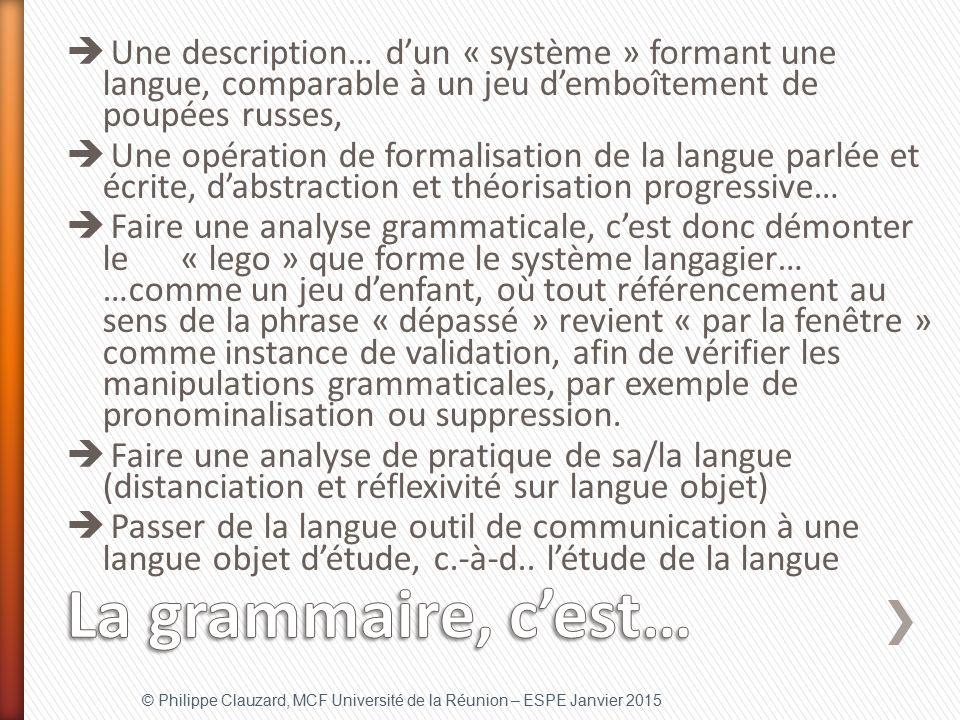 Une description… d'un « système » formant une langue, comparable à un jeu d'emboîtement de poupées russes,