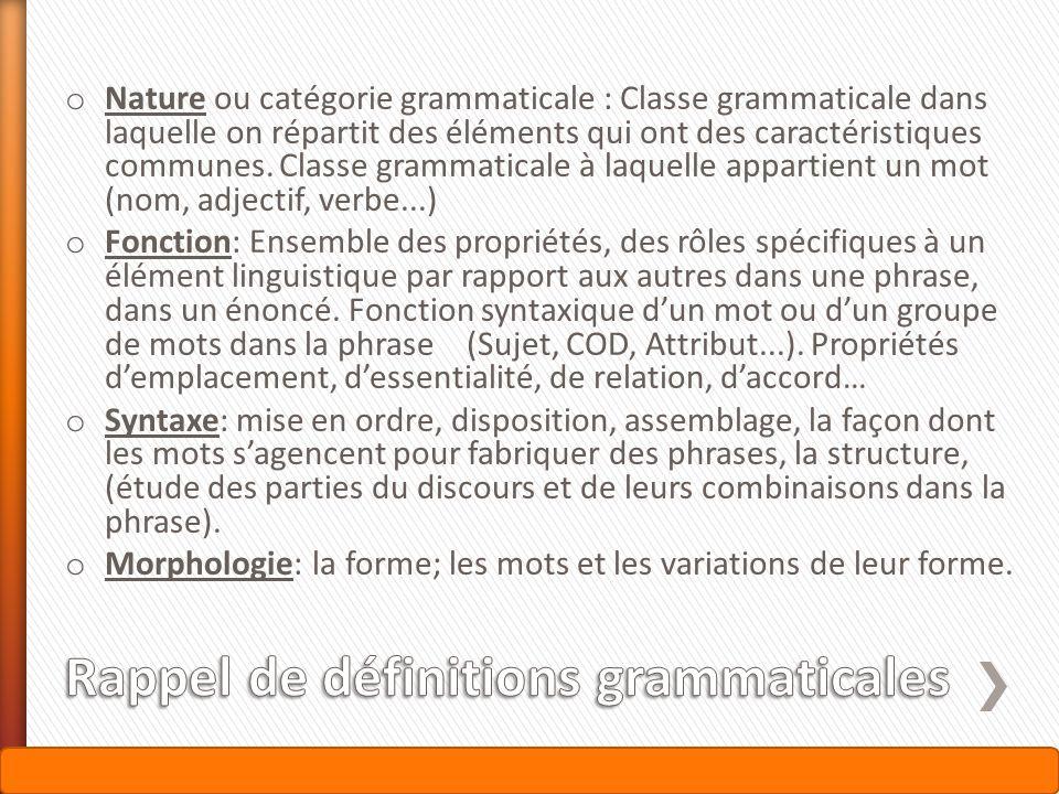 Rappel de définitions grammaticales