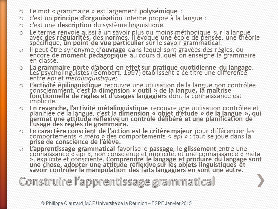 Construire l'apprentissage grammatical