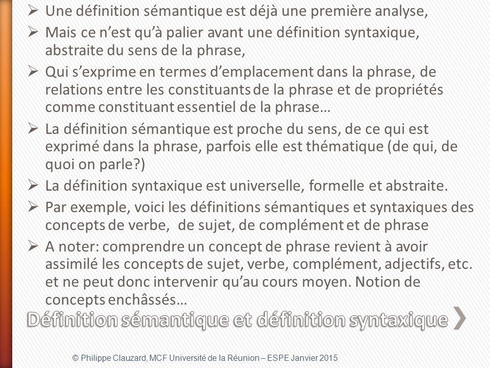 Définition sémantique et définition syntaxique