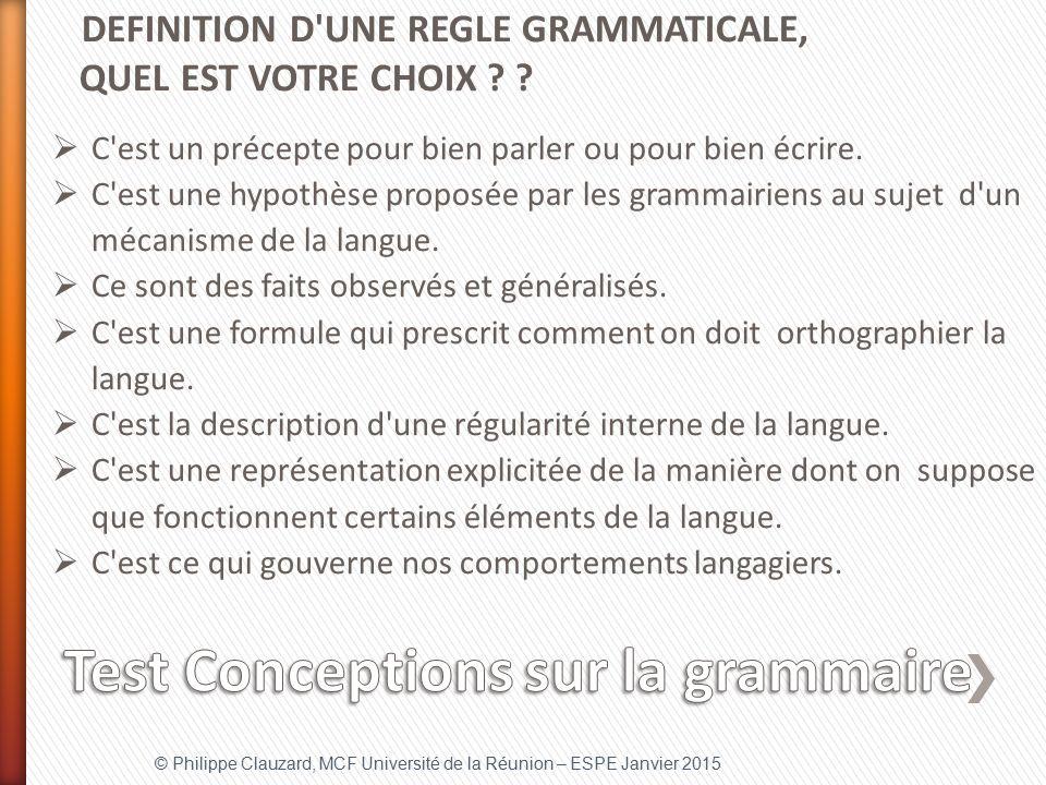 Test Conceptions sur la grammaire