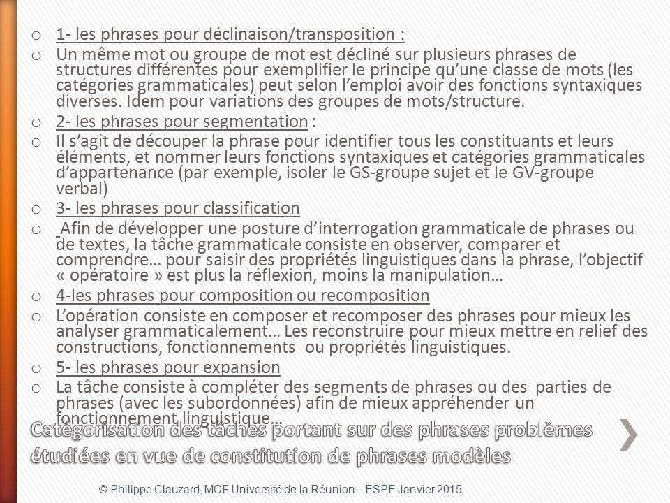 1- les phrases pour déclinaison/transposition :