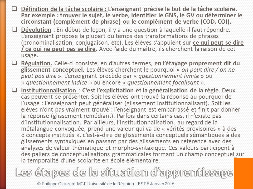 Les étapes de la situation d'apprentissage