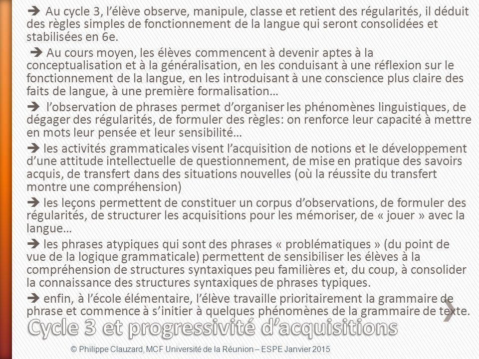 Cycle 3 et progressivité d'acquisitions