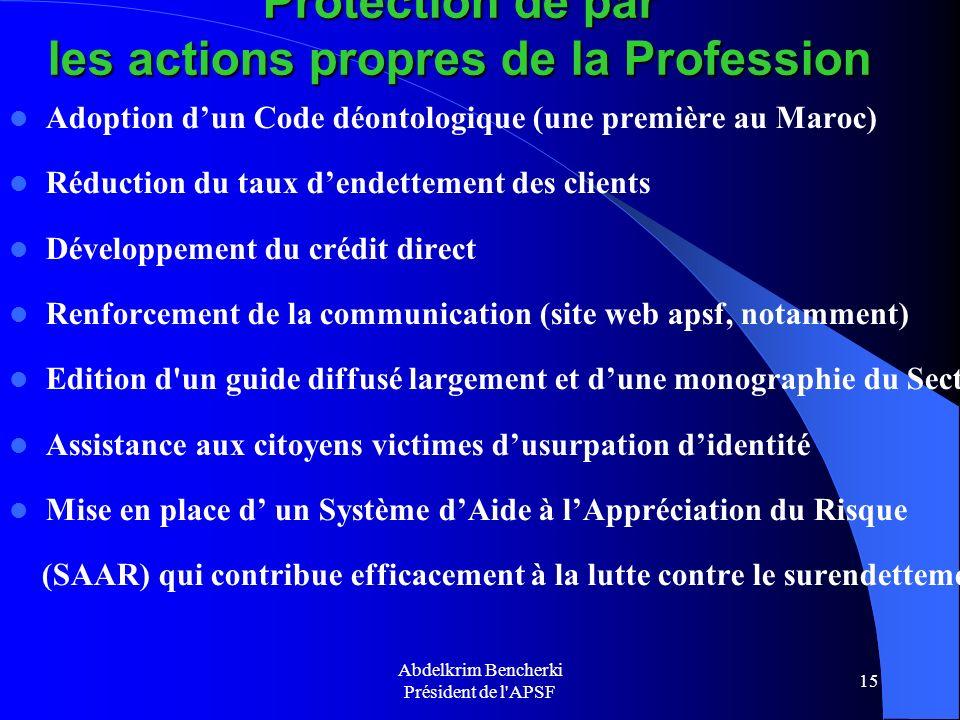 Protection de par les actions propres de la Profession