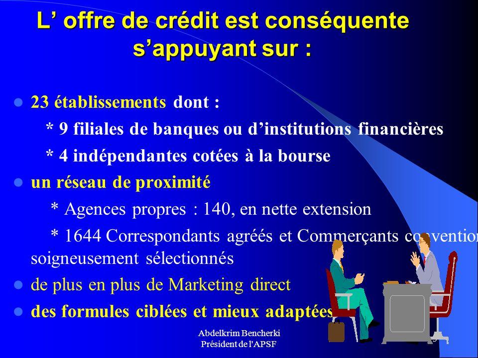 L' offre de crédit est conséquente s'appuyant sur :