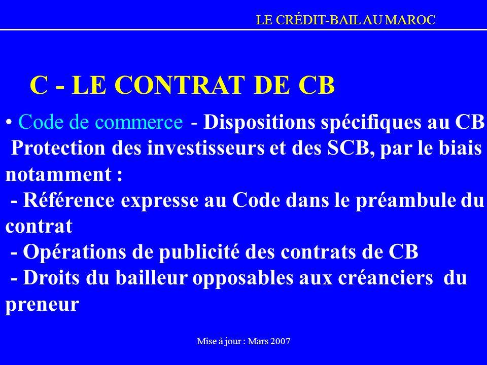 C - LE CONTRAT DE CB Code de commerce - Dispositions spécifiques au CB